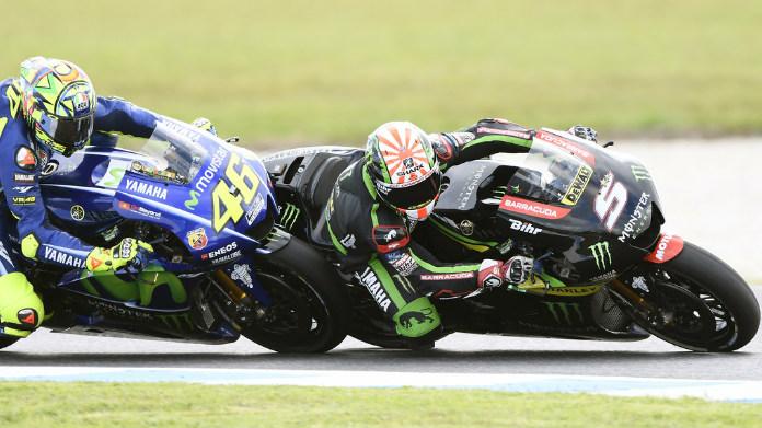 Johann Zarco e Valentino Rossi in pista