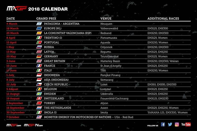 MXGP Calendario 2018